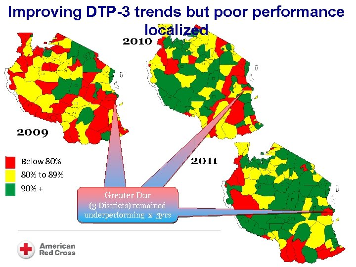Improving DTP-3 trends but poor performance localized 2010 2009 2011 Below 80% to 89%