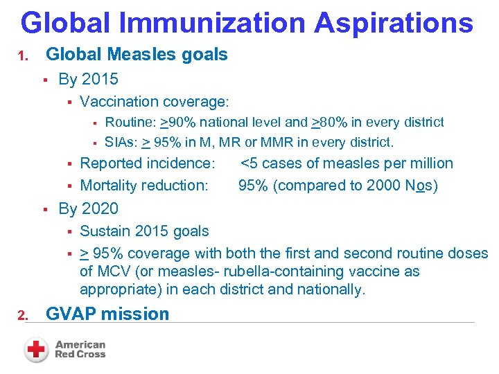 Global Immunization Aspirations 1. Global Measles goals § By 2015 § Vaccination coverage: §