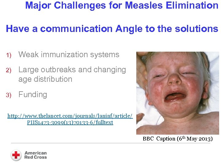 Major Challenges for Measles Elimination Have a communication Angle to the solutions 1) Weak