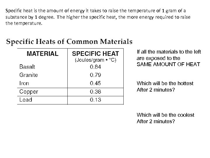 Specific heat is the amount of energy it takes to raise the temperature of