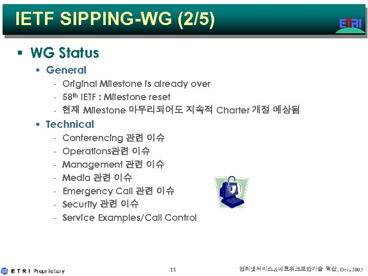 IETF SIPPING-WG (2/5) § WG Status • General - Original Milestone is already over