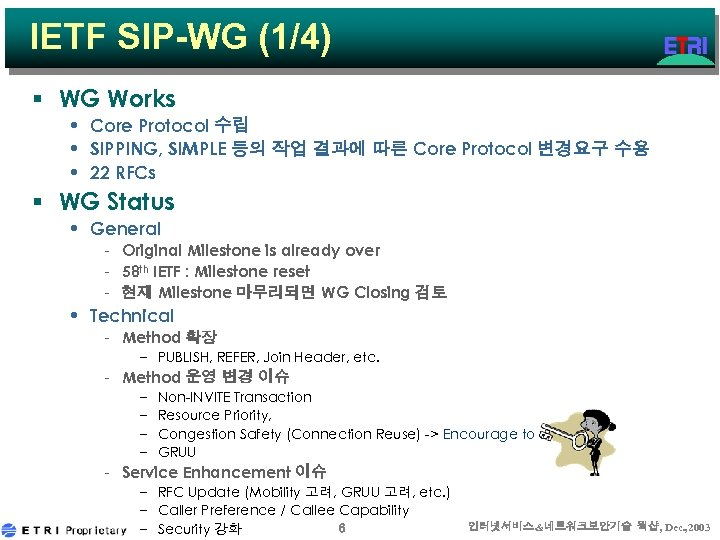 IETF SIP-WG (1/4) § WG Works • Core Protocol 수립 • SIPPING, SIMPLE 등의