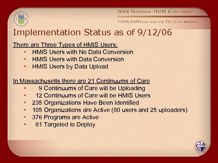 Implementation Status as of 9/12/06 There are Three Types of HMIS Users: • HMIS