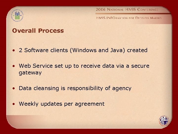Overall Process • 2 Software clients (Windows and Java) created • Web Service set