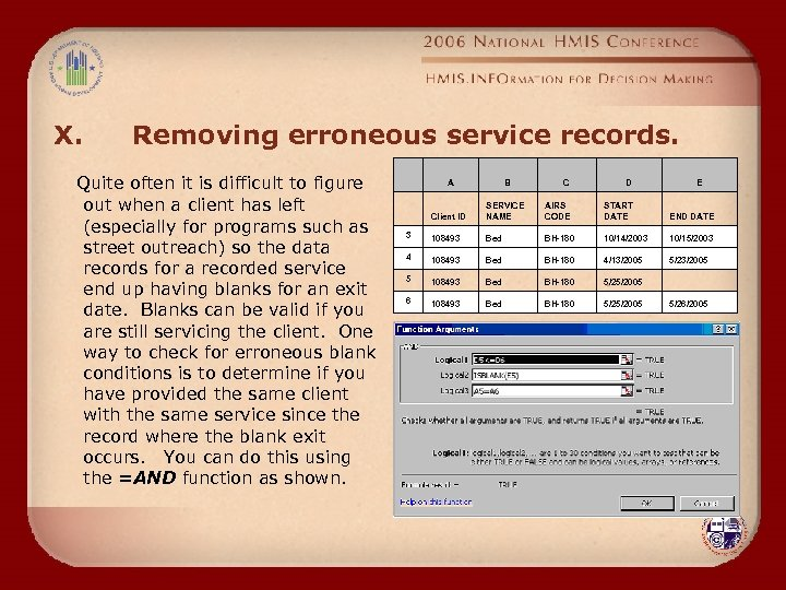X. Removing erroneous service records. Quite often it is difficult to figure out when