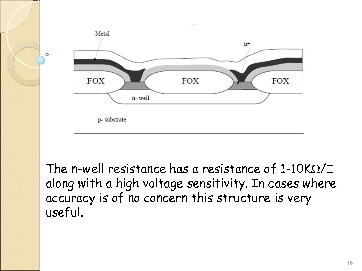 The n-well resistance has a resistance of 1 -10 K / along with a