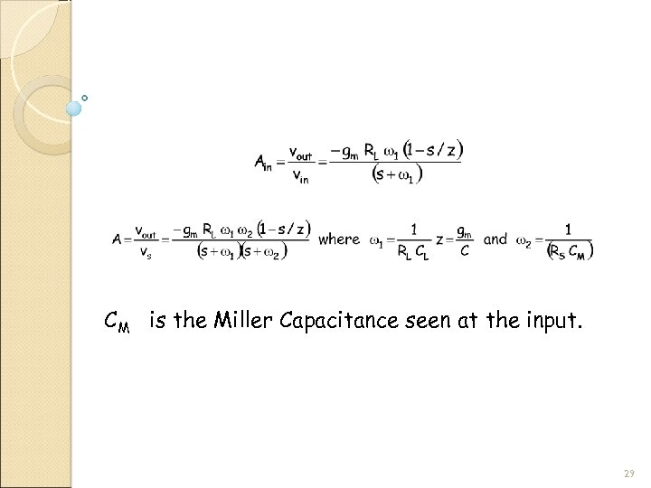 CM is the Miller Capacitance seen at the input. 29