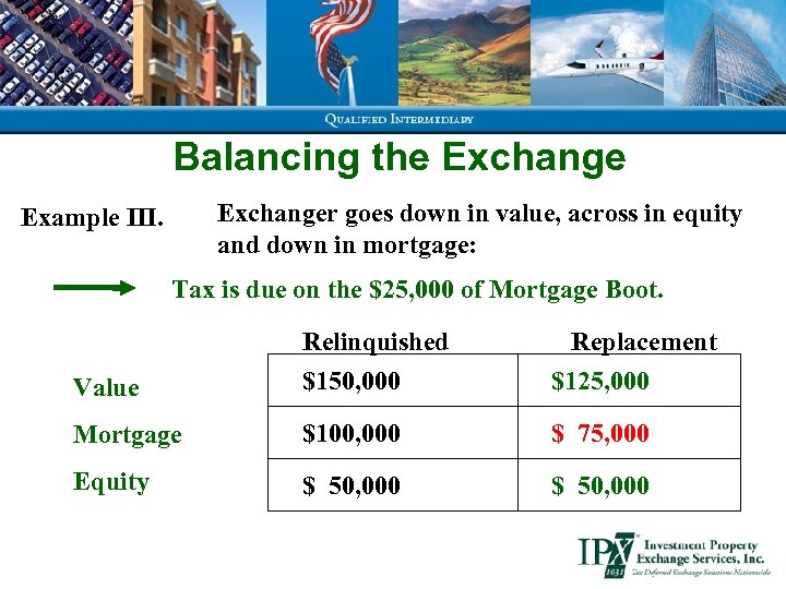 Balancing the Exchanger goes down in value, across in equity and down in mortgage: