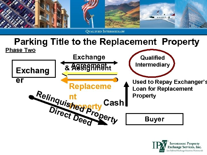 Parking Title to the Replacement Property Phase Two Exchang er Exchange & Agreement Assignment