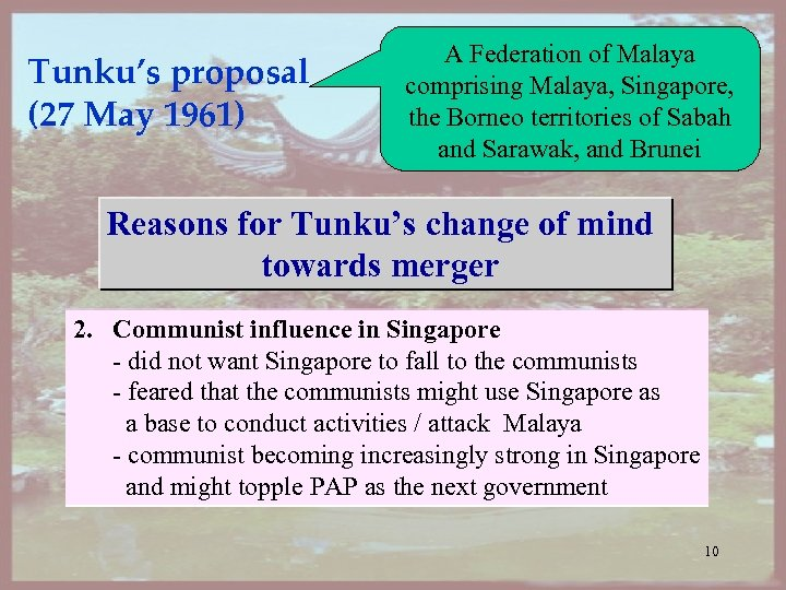 Tunku's proposal (27 May 1961) A Federation of Malaya comprising Malaya, Singapore, the Borneo
