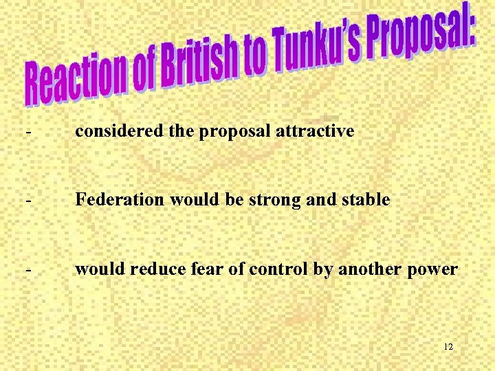 - considered the proposal attractive - Federation would be strong and stable - would