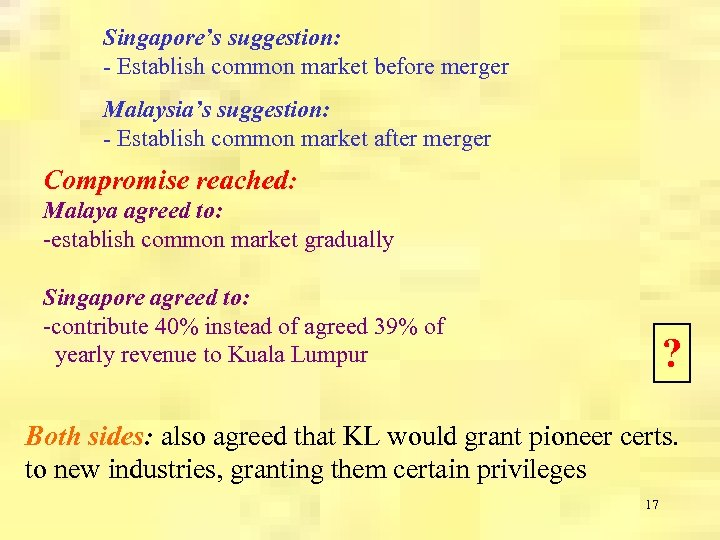 Singapore's suggestion: - Establish common market before merger Malaysia's suggestion: - Establish common market