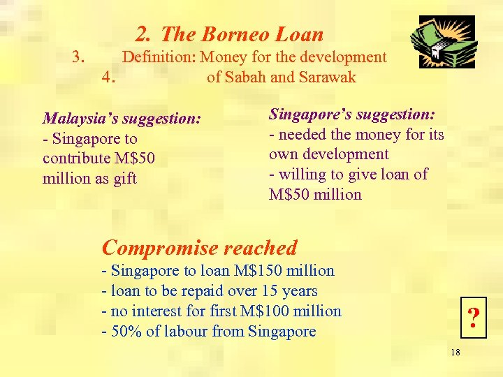 2. The Borneo Loan 3. Definition: Money for the development 4. of Sabah and