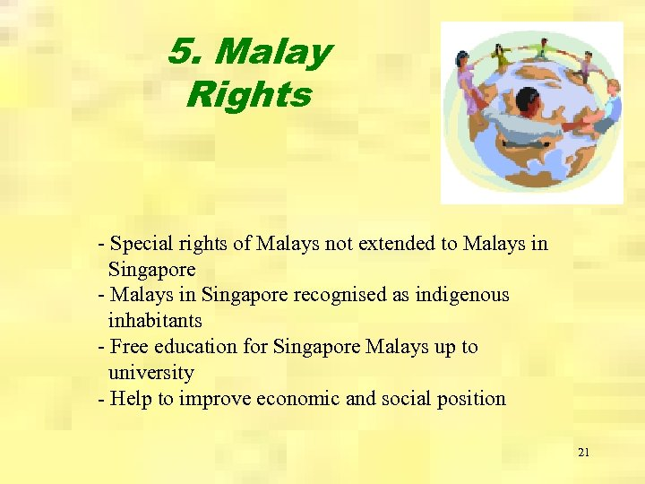 5. Malay Rights - Special rights of Malays not extended to Malays in Singapore