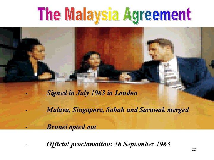 - Signed in July 1963 in London - Malaya, Singapore, Sabah and Sarawak merged