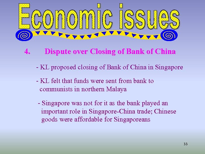 4. Dispute over Closing of Bank of China - KL proposed closing of Bank