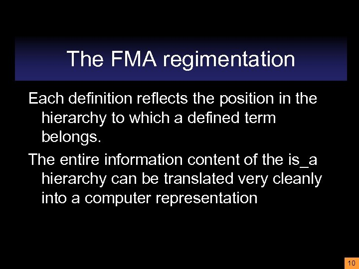 The FMA regimentation Each definition reflects the position in the hierarchy to which a