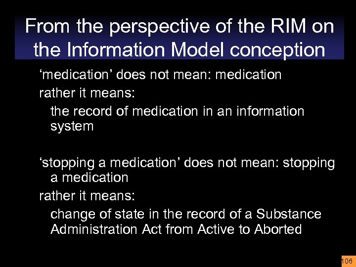 From the perspective of the RIM on the Information Model conception 'medication' does not