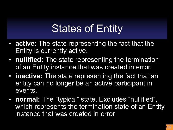 States of Entity • active: The state representing the fact that the Entity is