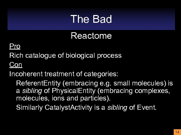 The Bad Reactome Pro Rich catalogue of biological process Con Incoherent treatment of categories: