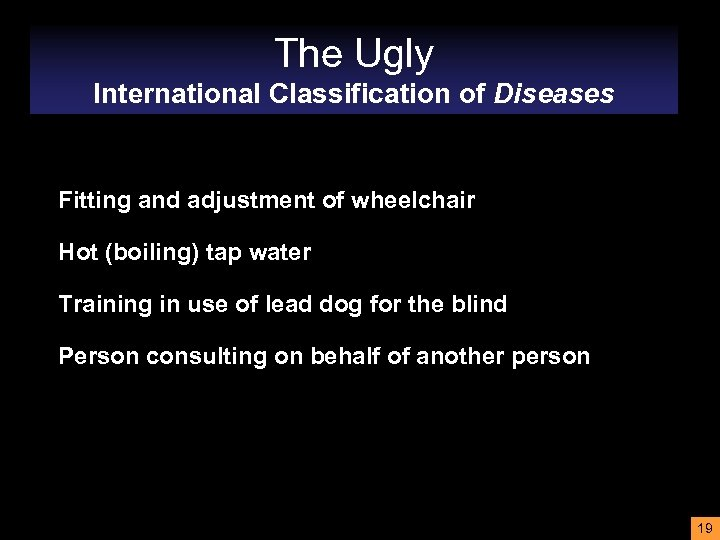 The Ugly International Classification of Diseases Fitting and adjustment of wheelchair Hot (boiling) tap