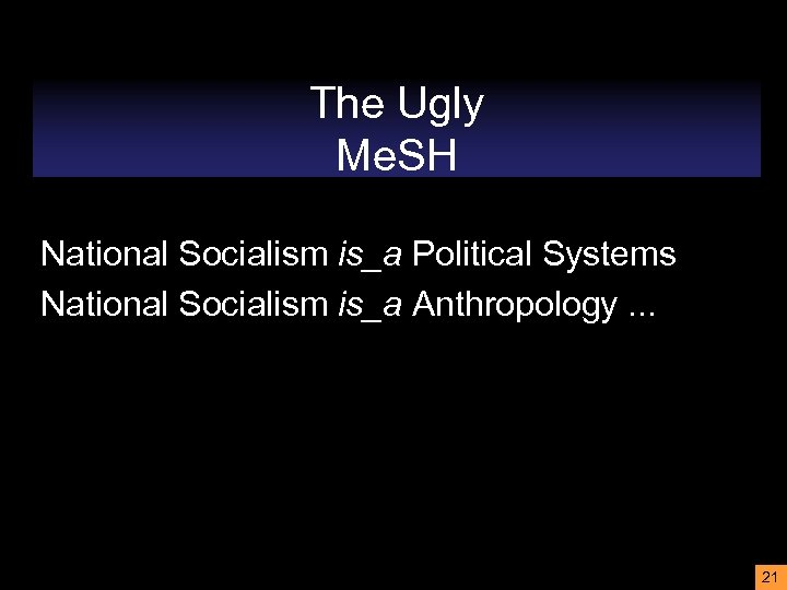 The Ugly Me. SH National Socialism is_a Political Systems National Socialism is_a Anthropology. .