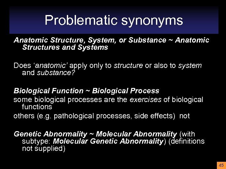 Problematic synonyms Anatomic Structure, System, or Substance ~ Anatomic Structures and Systems Does 'anatomic'
