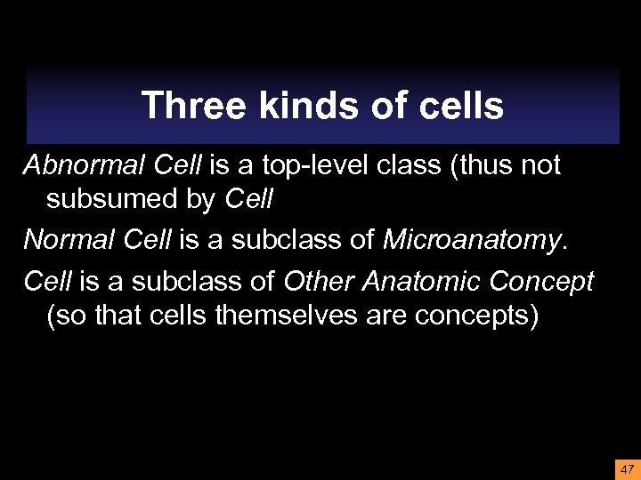 Three kinds of cells Abnormal Cell is a top-level class (thus not subsumed by