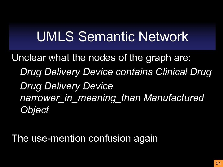 UMLS Semantic Network Unclear what the nodes of the graph are: Drug Delivery Device