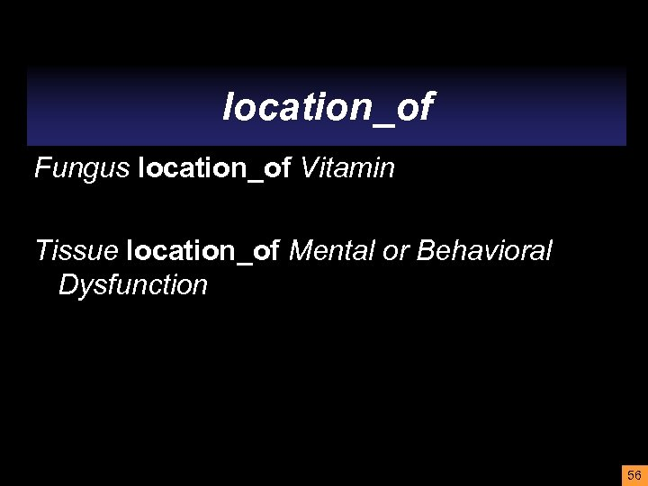 location_of Fungus location_of Vitamin Tissue location_of Mental or Behavioral Dysfunction 56