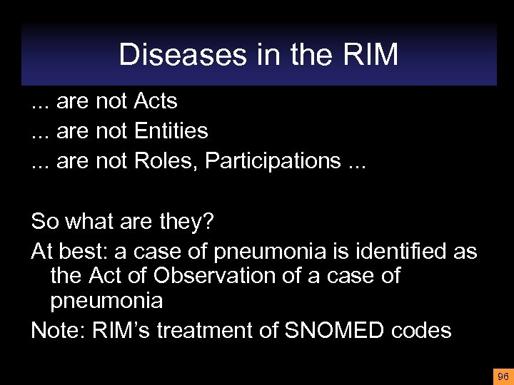 Diseases in the RIM. . . are not Acts. . . are not Entities.