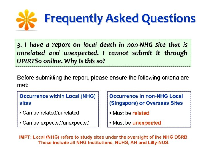 Frequently Asked Questions 3. I have a report on local death in non-NHG site