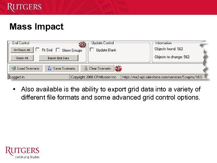 Mass Impact • Also available is the ability to export grid data into a