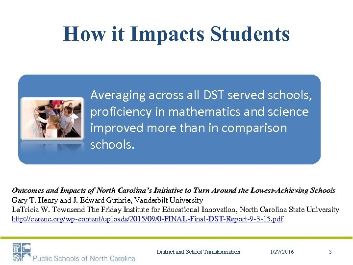 How it Impacts Students Averaging across all DST served schools, proficiency in mathematics and