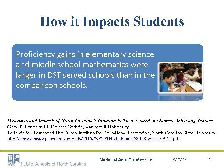 How it Impacts Students Proficiency gains in elementary science and middle school mathematics were