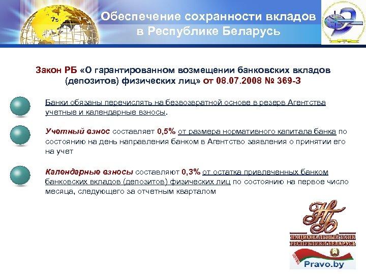 Обеспечение сохранности вкладов в Республике Беларусь LOGO Закон РБ «О гарантированном возмещении банковских вкладов