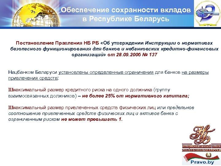 Обеспечение сохранности вкладов в Республике Беларусь LOGO Постановление Правления НБ РБ «Об утверждении Инструкции