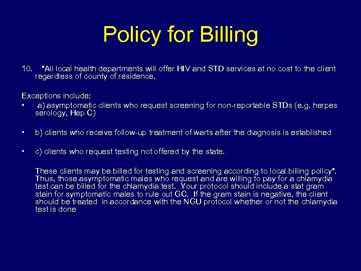 Policy for Billing 10.
