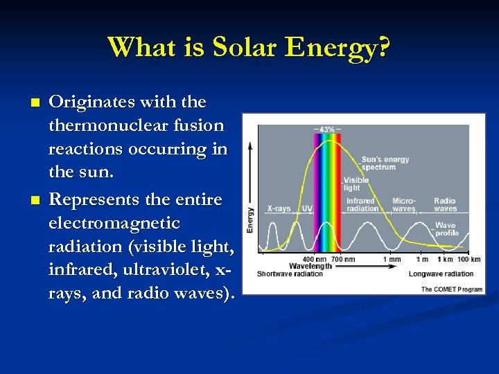 What is Solar Energy? n n Originates with thermonuclear fusion reactions occurring in the