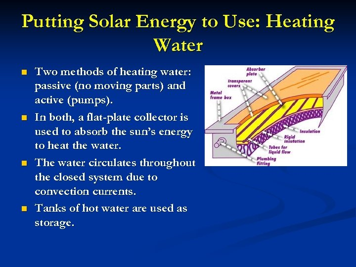 Putting Solar Energy to Use: Heating Water n n Two methods of heating water: