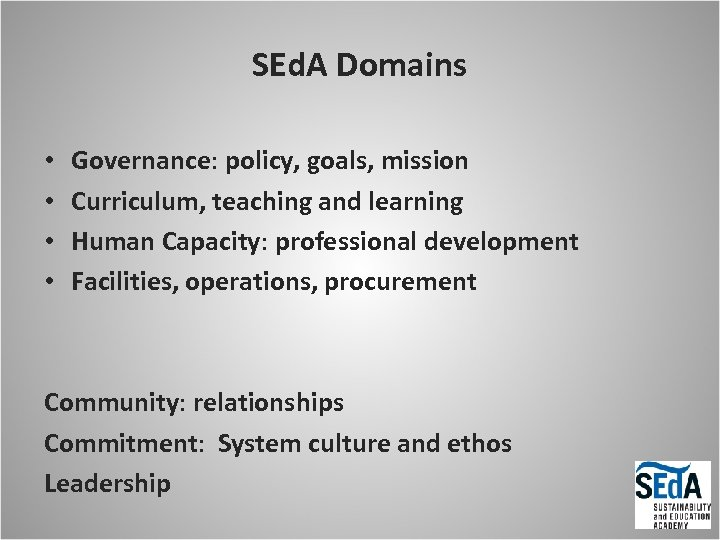 SEd. A Domains • • Governance: policy, goals, mission Curriculum, teaching and learning Human