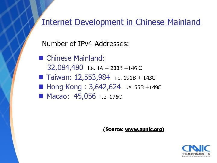 Internet Development in Chinese Mainland Number of IPv 4 Addresses: n Chinese Mainland: 32,