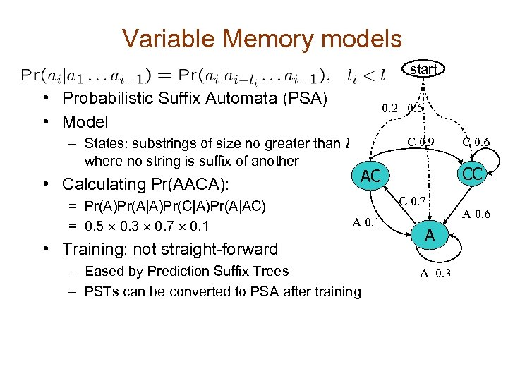 Variable Memory models start • Probabilistic Suffix Automata (PSA) • Model – States: substrings