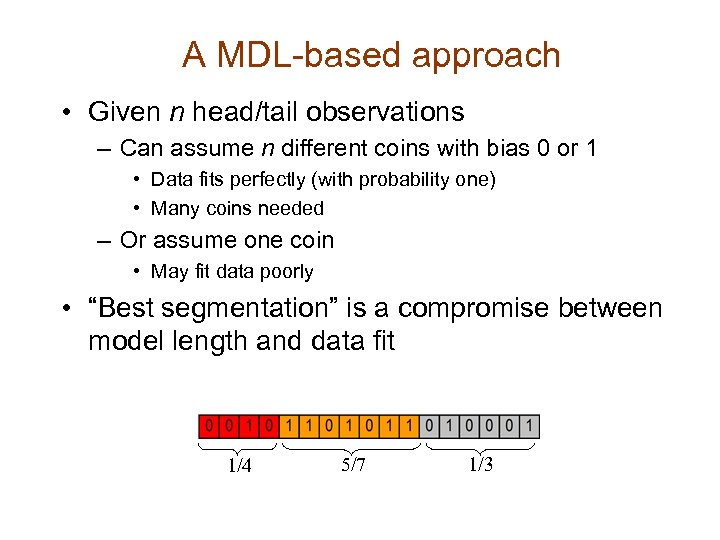 A MDL-based approach • Given n head/tail observations – Can assume n different coins