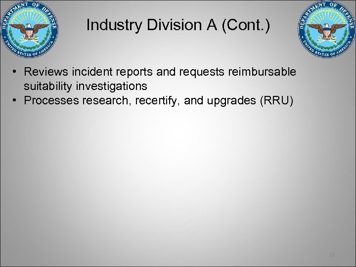Industry Division A (Cont. ) • Reviews incident reports and requests reimbursable suitability investigations