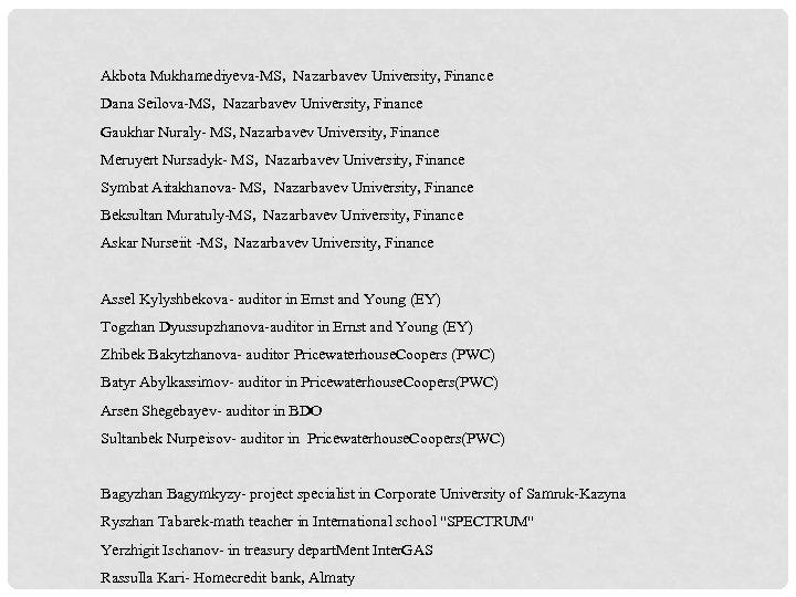 Akbota Mukhamediyeva-MS, Nazarbavev University, Finance Dana Seilova-MS, Nazarbavev University, Finance Gaukhar Nuraly- MS, Nazarbavev