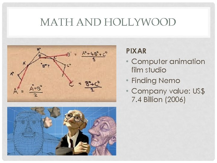 MATH AND HOLLYWOOD PIXAR • Computer animation film studio • Finding Nemo • Company