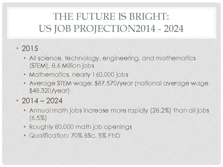 THE FUTURE IS BRIGHT: US JOB PROJECTION 2014 - 2024 • 2015 • All