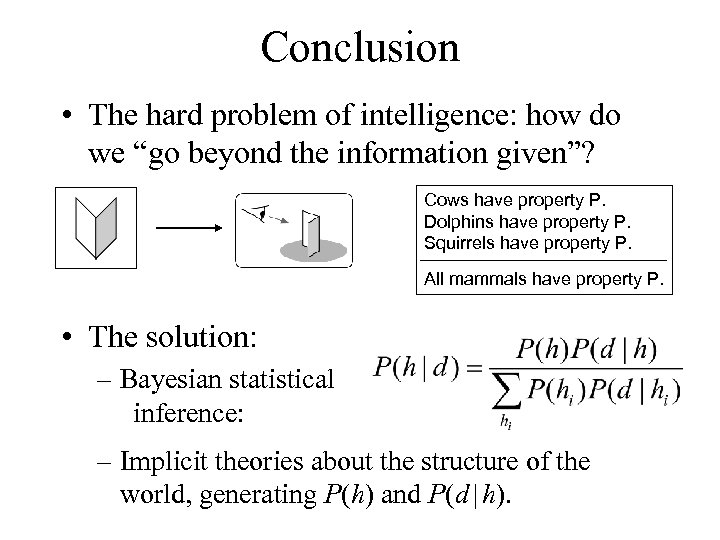 """Conclusion • The hard problem of intelligence: how do we """"go beyond the information"""
