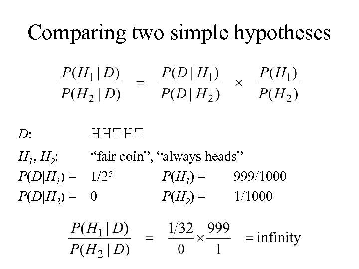 Comparing two simple hypotheses D: HHTHT H 1, H 2: P(D H 1) = P(D H